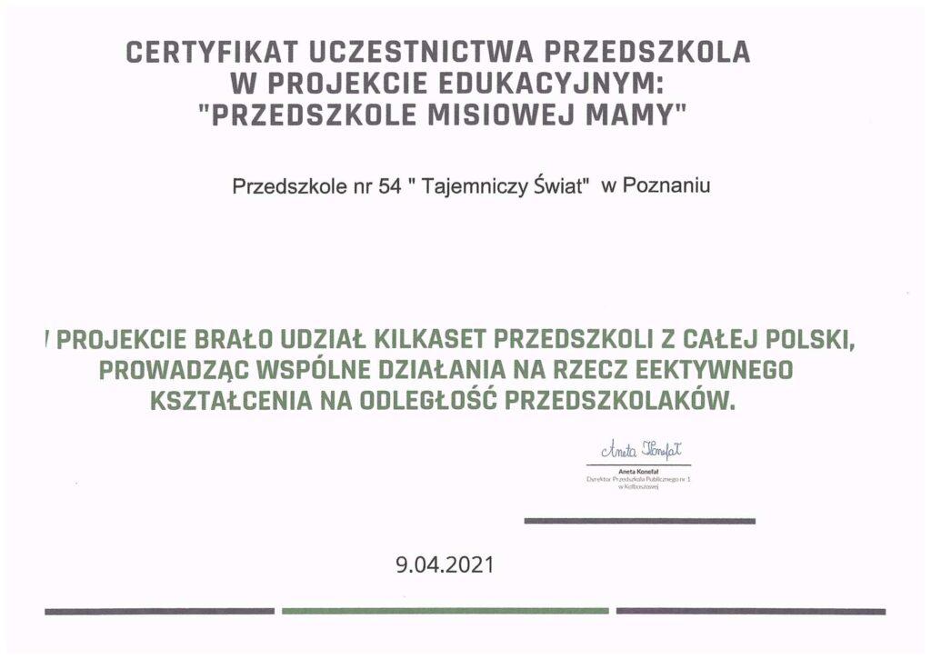 Certyfikat Przedszkole Misiowej Mamy