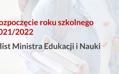 List Ministra Edukacji i Nauki – rozpoczęcie roku szkolnego 2021/2022